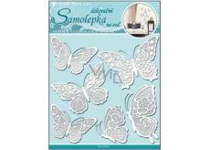 Room Decor Samolepka na zeď motýli s bílými krajkovými křídly 40 x 31 cm 1 arch