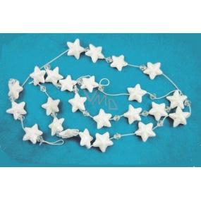 Řetěz bílé hvězdičky 12mm a korálky, 180cm