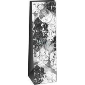 Ditipo Dárková papírová taška na láhev 12,3 x 7,8 x 36,2 cm šedo, černo, bílá ST
