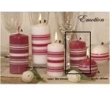 Lima Fresh Line Emotion vonná svíčka růžová - bílé pruhy válec 50 x 100 mm 1 kus