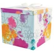 Anděl Dárková krabička skládací s mašlí Barevné květy 22 x 22 x 13 cm