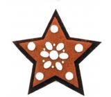 Perníček z filcu hvězda dekorace na zavěšení 10 cm