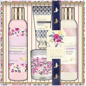 Baylis & Harding Lesní zvonek a Květinová louka tekuté tělové mýdlo 250 ml + sprchový krém 250 ml + krém na ruce 30 ml + vonná svíčka, kosmetická sada