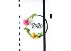 Albi Diář 2020 kapesní s gumičkou Květinový věnec 15 x 9,5 x 1,3 cm