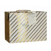 Anděl Taška dárková krabice, uzavíratelná, se zlatými proužky 18 x 12 x 9 cm