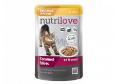 Nutrilove Dušené filetky se šťavnatým kuřecím v želé kompletní krmivo pro kočky kapsička 85 g