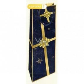 Nekupto Dárková papírová taška na láhev 33 x 10 x 9 cm tmavě modrá se zlatou stuhou Vánoční WLH