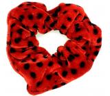 Bartoň Gumička sametová střední červená s černými puntíky 3,5 x 9 cm