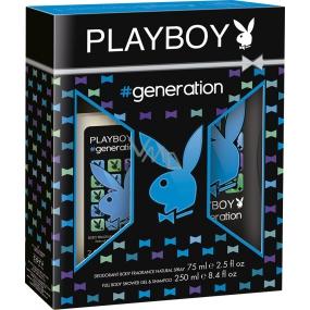 Playboy Generation for Him parfémovaný deodorant sklo 75 ml + sprchový gel 250 ml, kosmetická sada