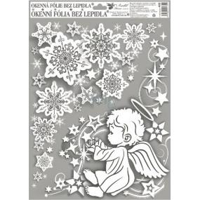Okenní fólie bez lepidla rohová andílci s duhovými glitry kluk vpravo 42 x 30 cm