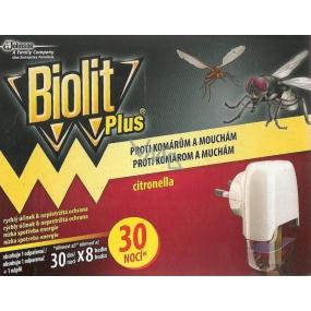 Biolit Plus Elektrický odpařovač s vůní citronelly proti komárům a mouchám 30 nocí strojek + náplň 31 ml