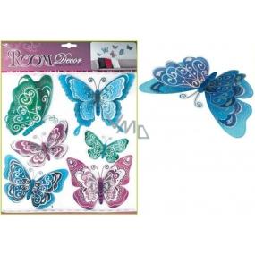 Room Decor Samolepky na zeď motýli modrofialoví s hologramem 30,5 x 30,5 cm