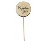 Bohemia Gifts Dřevěný zápich k bylinkám s potiskem - Majoránka průměr kolečka je 5 - 8 cm