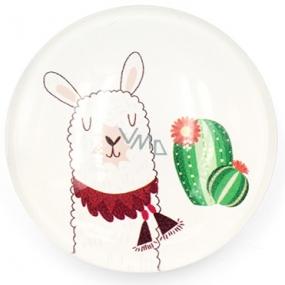Nekupto Magnet bílý kolečko Lama, kaktus 4 cm