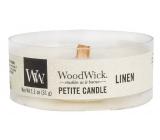 WoodWick Linen - Čistý len vonná svíčka s dřevěným knotem petite 31 g