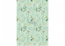 Ditipo Dárkový balicí papír 70 x 100 cm Zelený mentolový s květinami 2 archy