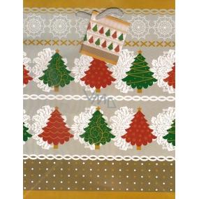 Nekupto Dárková papírová taška střední 899 02 WBM Zelený a červený stromek 23 x 18 x 10 cm