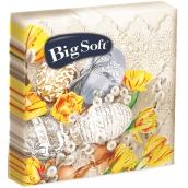 Big Soft Velikonoční papírové ubrousky béžová vajíčka a žluté květy 33 x 33 cm 2 vrstvé 20 kusů