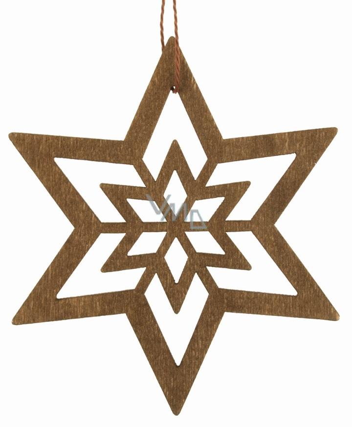 Dřevěná hvězda závěsná 10 cm, tmavě hnědá