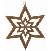 Hvězda dřevěná tmavě hnědá na zavěšení 10 cm