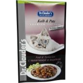 Dr. Clauders Telecí a krůta v omáčce kompletní krmivo s kousky masa pro kočky kapsička 100 g