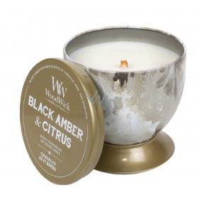 WoodWick Black Amber & Citrus - Černá ambra a citrus Artisan vonná svíčka s dřevěným knotem a víčkem plechové dóze 240,9 g