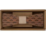 Bohemia Gifts Dřevěný motýlek Knír 12,5 cm