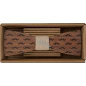 Bohemia Gifts & Cosmetics Dřevěný motýlek Knír 12,5 cm