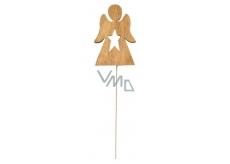 Anděl dřevěný hnědy zápich 8 cm + drátek