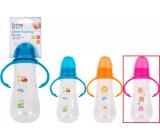 First Steps Feeding Bottle 0+ kojenecká lahev čirá s úchopy Sova růžová 250 ml