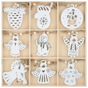 Dekorace dřevěné závěsné bílé 6 cm 27 kusů, v krabičce