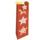 Nekupto Dárková papírová taška na láhev 33 x 10 x 9 cm červená s hvězdami Vánoční WLH