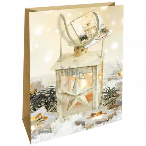 Nekupto Dárková papírová taška 46 x 33 x 10,5 cm zlatá lucerna Vánoční WBXL 1957 01