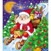 Press Igelitová taška 45 x 50 cm s uchem Santa Claus na saních