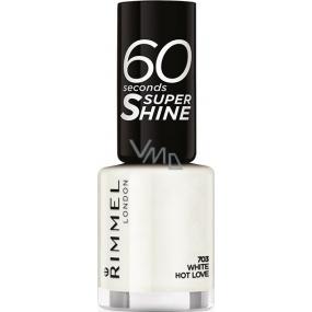 Rimmel London 60 Seconds Super Shine Nail Polish lak na nehty 703 White Hot Love 8 ml