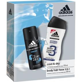 Adidas Cool & Dry Fresh antiperspirant deodorant sprej pro muže 150 ml + Hydra Sport 3v1 Body Hair Face sprchový gel na tělo, vlasy a tvář pro muže 250 ml, kosmetická sada