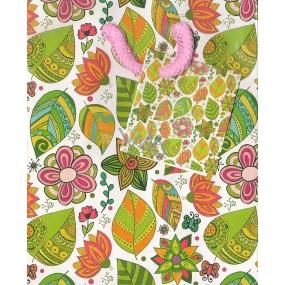 Nekupto Dárková papírová taška malá 14 x 11 x 6,5 cm Barevné květy a lístky 990 50 BS