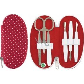 Dup Manikúra Zora 6 dílná Červený nylon s tečkami vzor 230404-010