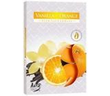 Bispol Aura Vanilla Orange s vůní vanilky a pomeranče vonné čajové svíčky 6 kusů