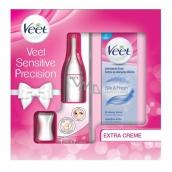 Veet Sensitive Precision elektrický zastřihovač + Silk & Fresh depilační krém pro citlivou pokožku 100 ml, kosmetická kazeta