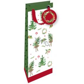 Nekupto Dárková papírová taška na láhev luxusní 33 x 13 cm Vánoční 1792 WILH