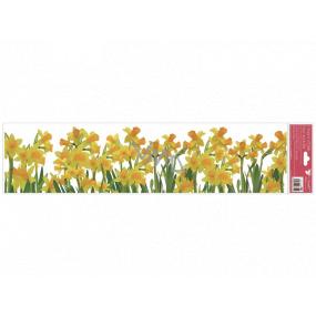 Okenní fólie bez lepidla pruhy Narcisy 64 x 15 cm