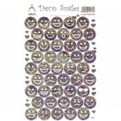 Arch Holografické dekorační samolepky smajlíci stříbrno-barevní 18 x 12 cm 417