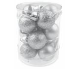 Baňky mini stříbrné mix povrchů 2,5 cm ve válci 12 kusů