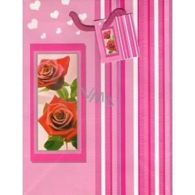 Nekupto Dárková papírová taška střední 23 x 18 x 10 cm růžová s růží 1003 30 KAM