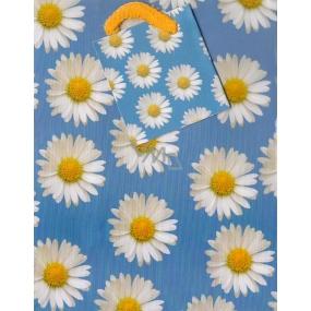 Nekupto Dárková papírová taška malá 14 x 11 x 6,5 cm modrá s kopretinami 1116 40 KAS