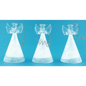 Anděl skleněný s bílou sukní svítící LED 10 cm 1 kus