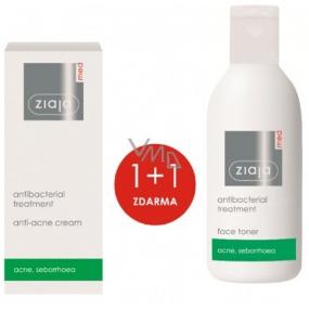 Ziaja Med Antibakteriální lehký pleťový krém proti akné 50 ml + čisticí tonik pro mastnou a problematickou pleť 200 ml, duopack