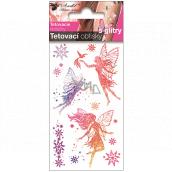 Tetovací obtisky barevné dětské s glitry Tři víly 10,5 x 6 cm