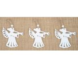Anděl dřevěný závěsný bílý 7 cm 3 kusy